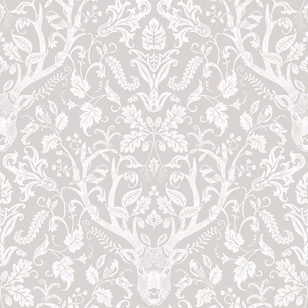 Picture of Kiwassa Taupe Antler Damask Wallpaper