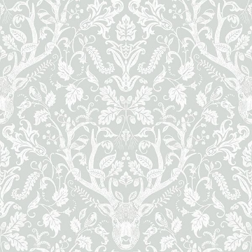 Picture of Kiwassa Grey Antler Damask Wallpaper