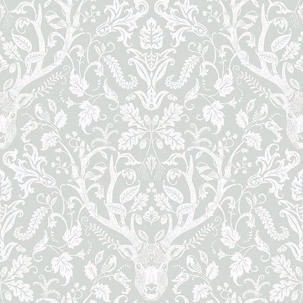 Picture of Kiwassa Grey Antler Damask Wallpaper