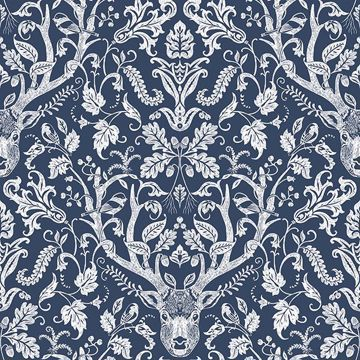 Picture of Kiwassa Navy Antler Damask Wallpaper
