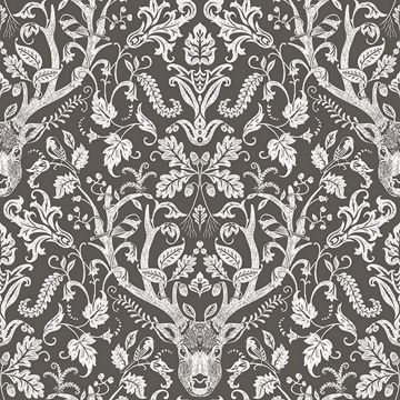 Picture of Kiwassa Brown Antler Damask Wallpaper