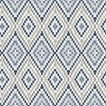 Picture of Ganado Navy Geometric Ikat Wallpaper