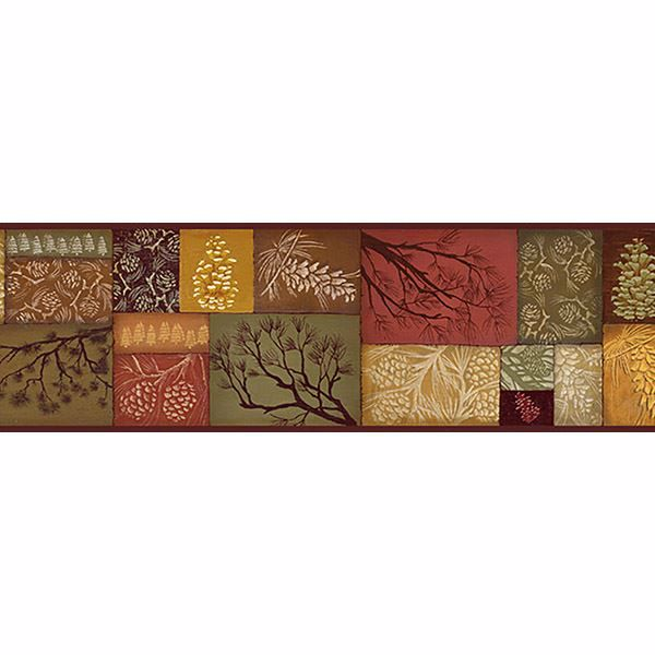 Picture of Pinecone Collage Multicolor Patchwork Border