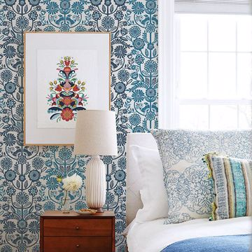 Picture of Lovebirds Navy Folk Stripe Wallpaper