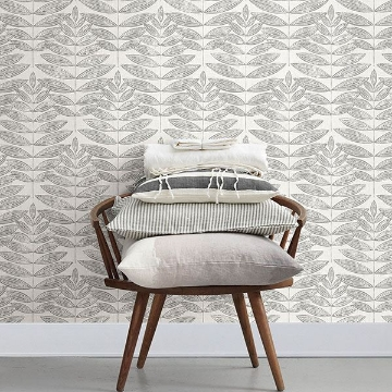 Picture of Akira Dove Leaf Wallpaper
