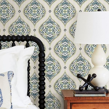 Picture of Adele Green Damask Wallpaper