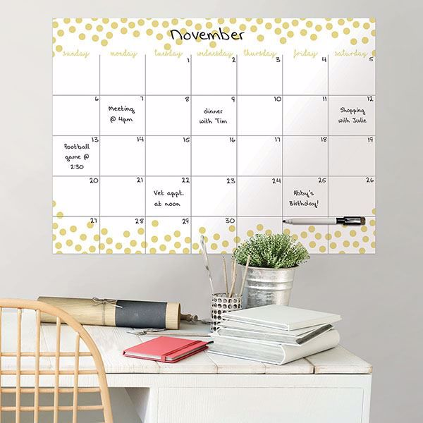 Picture of Confetti Dots Monthly Dry Erase Calendar Decal