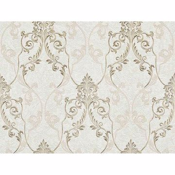 Picture of Damasco Samba White Scroll Damask Wallpaper