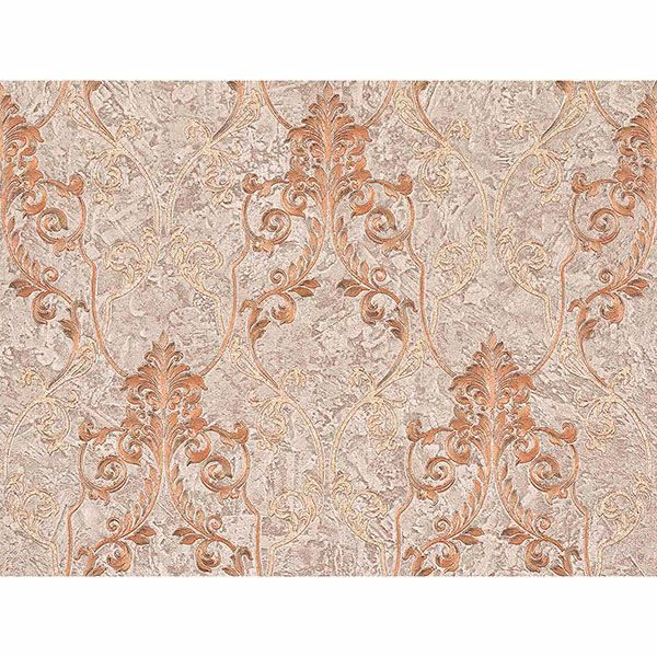 Picture of Damasco Samba Mauve Scroll Damask Wallpaper
