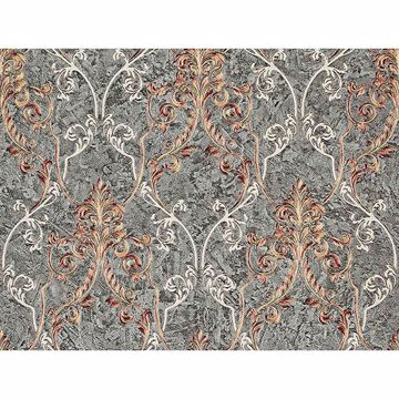 Picture of Damasco Samba Pewter Scroll Damask Wallpaper