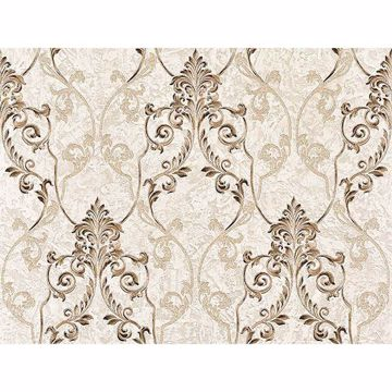 Picture of Damasco Samba Taupe Scroll Damask Wallpaper