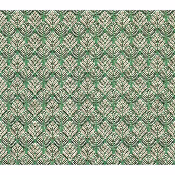 Picture of Dis Lambada Green Ogee Wallpaper
