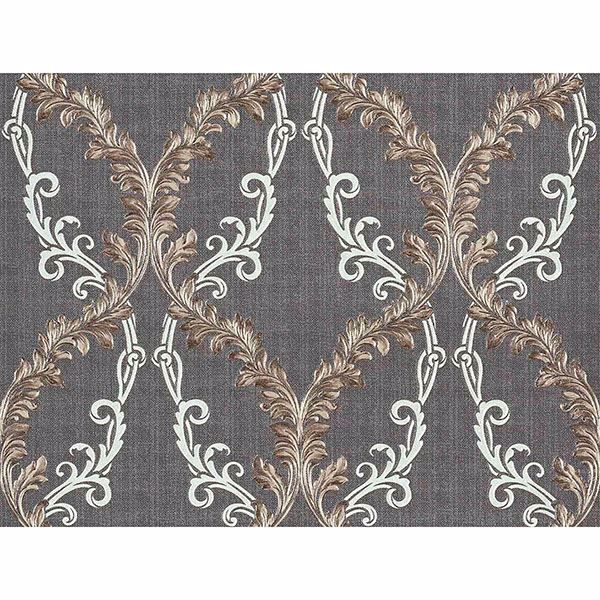 Picture of Dis Rumba Taupe Scroll Damask Wallpaper