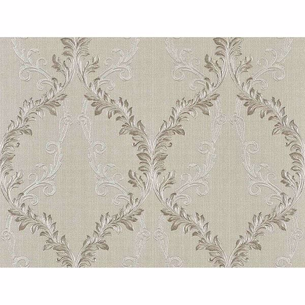 Picture of Dis Rumba Ivory Scroll Damask Wallpaper