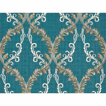 Picture of Dis Rumba Blue Scroll Damask Wallpaper