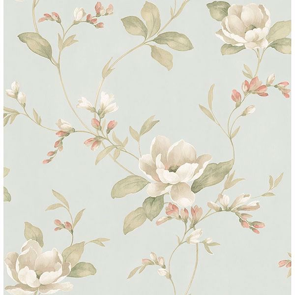 Picture of Caen Sage Floral Scroll Wallpaper