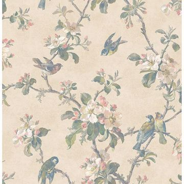 Picture of Eloisa Beige Floral Scroll Wallpaper