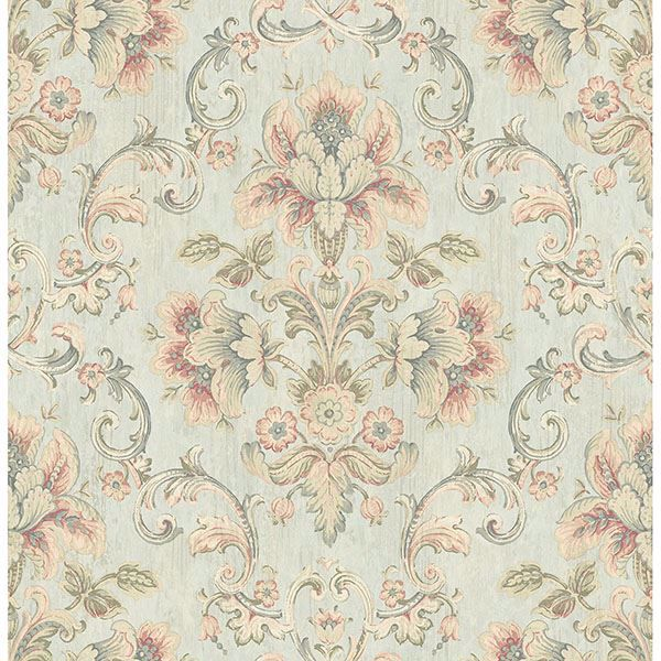 Picture of Mysore Light Green Damask Wallpaper