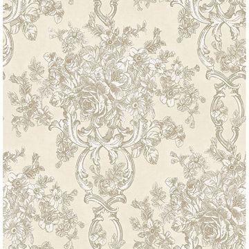 Picture of Potala Cream Fleur de Lis Ogee Wallpaper