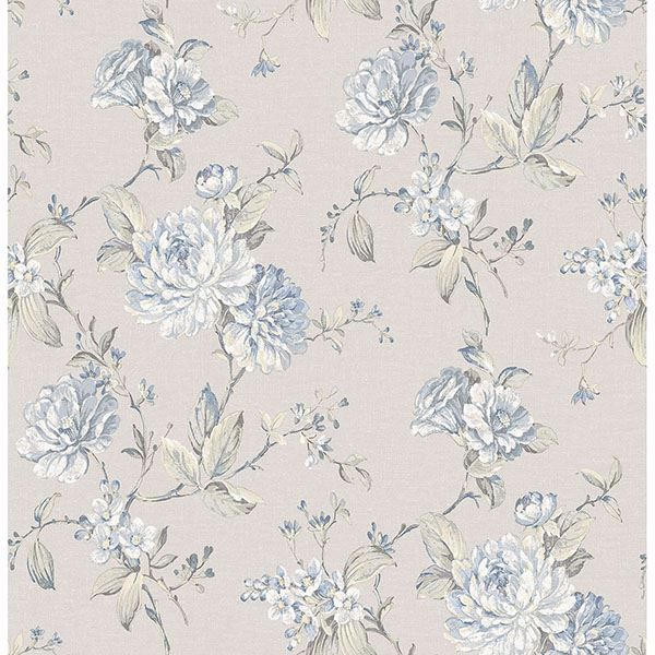 Picture of Mandir Grey Floral Trails Wallpaper