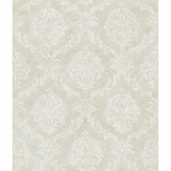 Picture of Saint Malo Grey Damask Wallpaper