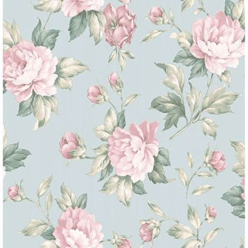 Picture of Catherine Light Blue Floral Wallpaper
