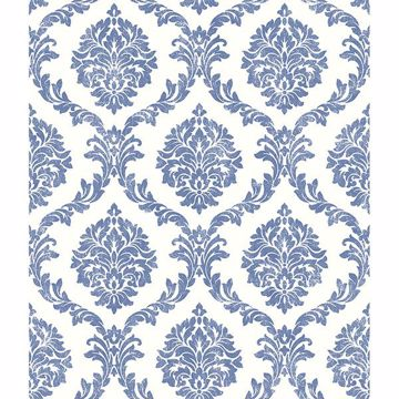 Picture of Saint Malo Blue Damask Wallpaper