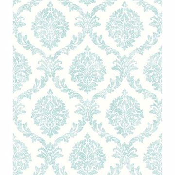 Picture of Saint Malo Aqua Damask Wallpaper