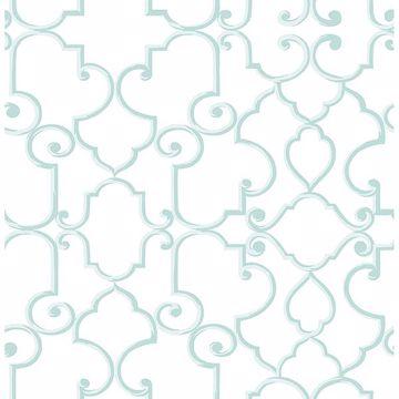 Picture of Lilles Aqua Trellis Wallpaper