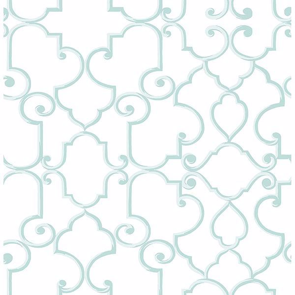 Picture of Lilles Aqua Trellis Wallpaper