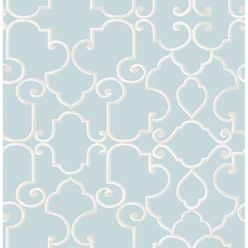 Picture of Lilles Teal Trellis Wallpaper