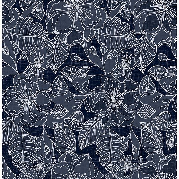 Picture of Toulouse Navy Floral Wallpaper