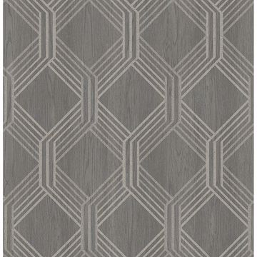 Picture of Colmar Charcoal Geo Lattice Wallpaper