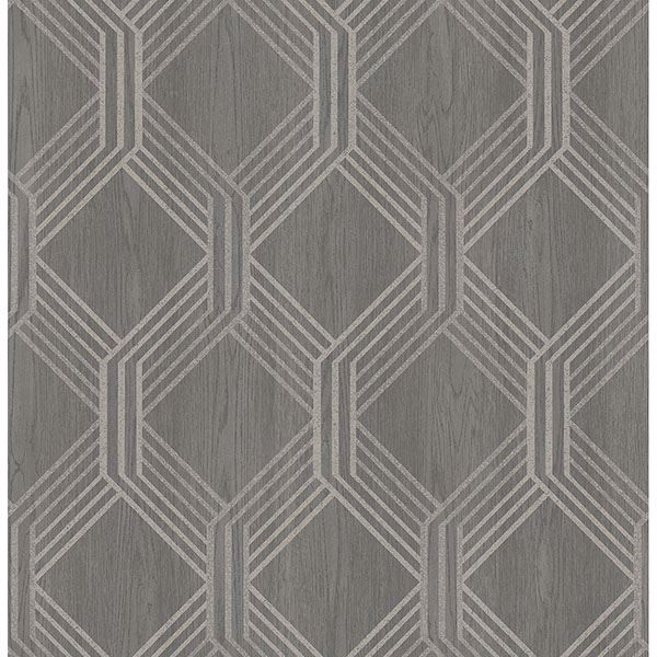 Picture of Colmar Charcoal Geo Lattice Wallpaper