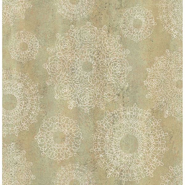 Picture of Davao Light Brown Medallion Wallpaper