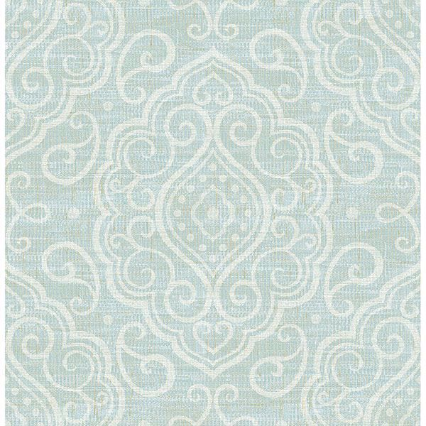 Picture of Troyes Aqua Medallion Wallpaper