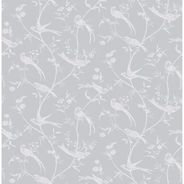 Picture of Norwich Light Grey Bird Trail Wallpaper