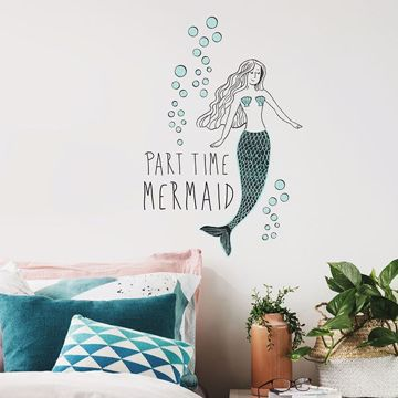 Part Time Mermaid Wall Quote Decals