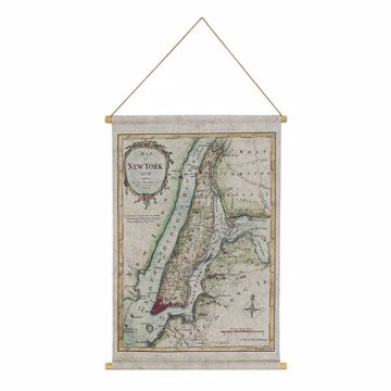 Picture of Map of NYC Hanging Linen Tapestry