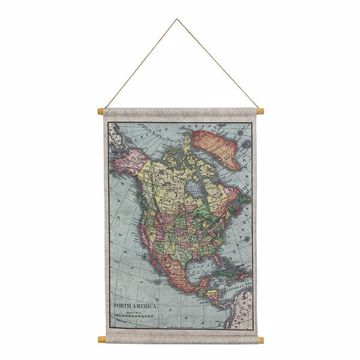 Picture of Map of North America Hanging Linen Tapestry