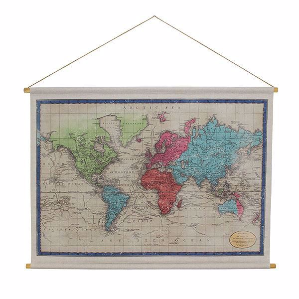 Picture of World Map Hanging Linen Tapestry