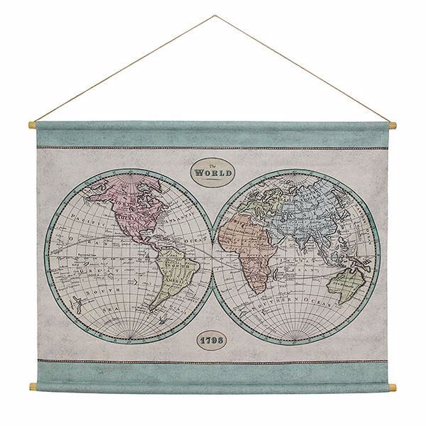 Picture of Globe Map Hanging Linen Tapestry