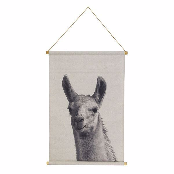 Picture of Llama Hanging Linen Tapestry