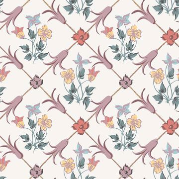 Picture of Tessin Multicolor Floral Geometric Wallpaper