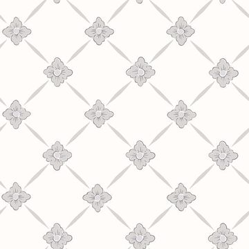 Picture of Linne Light Grey Geometric Floral Wallpaper