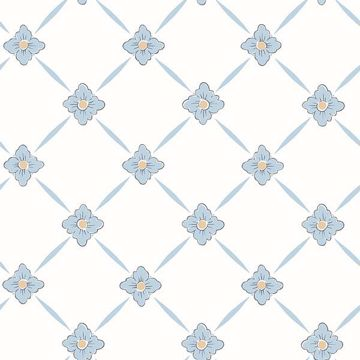 Picture of Linne Light Blue Geometric Floral Wallpaper