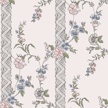 Picture of Slottsteatern Multicolor Floral Stripe Wallpaper