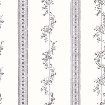 Picture of Drottningholm Grey Floral Stripe Wallpaper