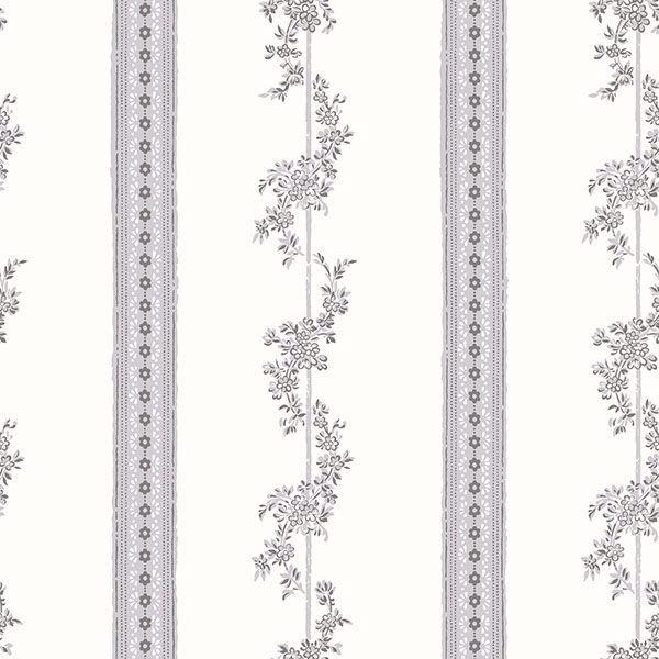 Picture of Drottningholm Grey Floral Stripe Wallpaper