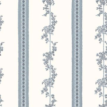 Picture of Drottningholm Periwinkle Floral Stripe Wallpaper